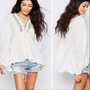 FREE PEOPLE lace up / crochet peasant swing top